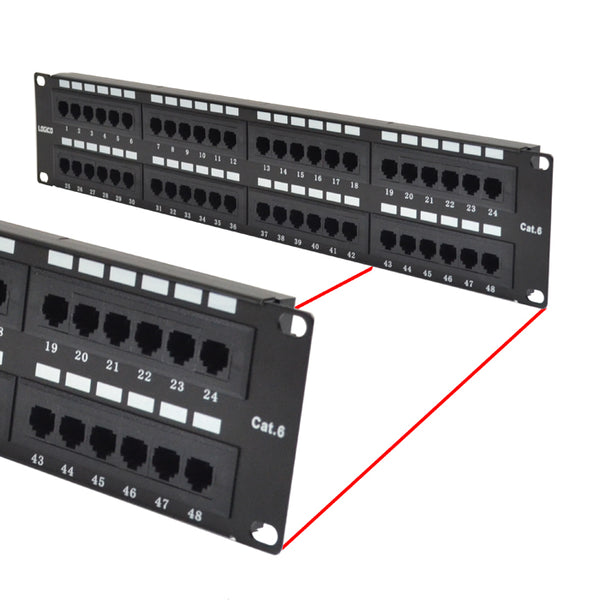 Cat6 UTP 48 Port Network LAN Patch Panel 2U 110 with cable management