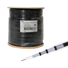 RG6 Quad Shield Coaxial Cable 18 AWG 1000ft Bulk Coax Satellite TV Black