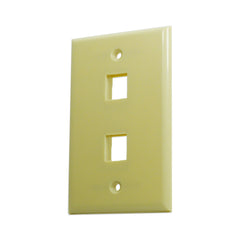 2 Port Hole Keystone Jack Wall Plate Ivory