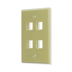 4 Port Hole Keystone Jack Wall Plate Ivory