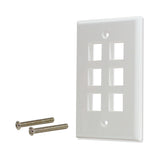 6 port Hole Keystone Jack Wall Plate Smooth Surface White