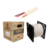 Rg59 Siamese Coaxial Cable 20Awg+18 - 2Awg 500Ft White