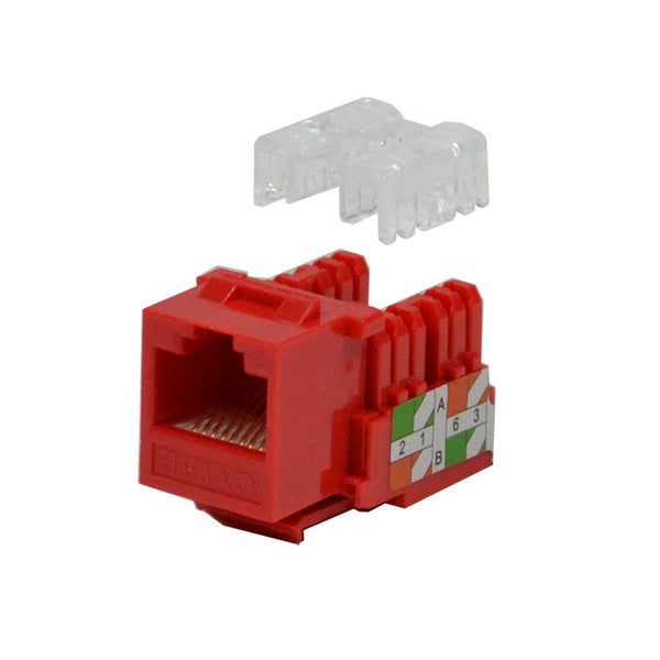 Keystone Jack Cat5e Red Network Ethernet 110 Punchdown 8P8C
