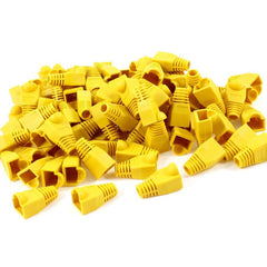 100 pcs Cat5e/Cat6/RJ45 Ethernet Cable Connector Strain Relief Boots Yellow