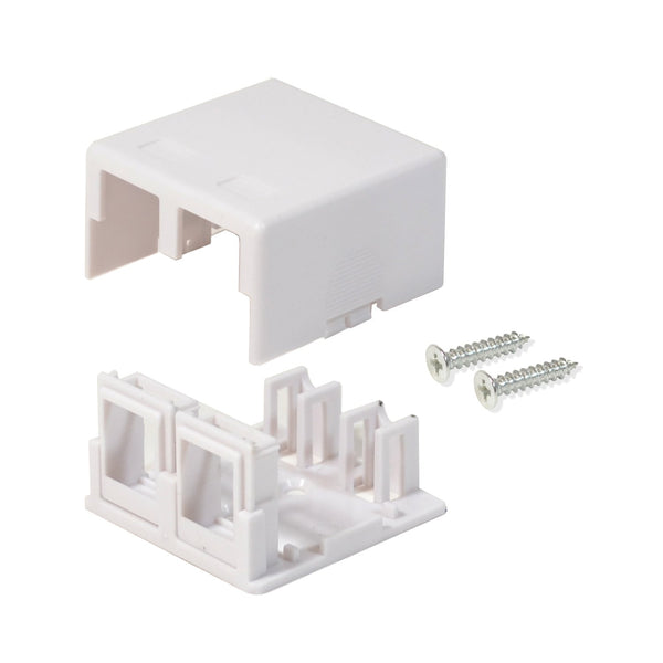 Surface Mount Box 2 Port Double Hole Keystone Jack Cat5e/Cat6 White