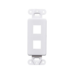 Decorator Style Keystone Jack 2 Port Modular Wall Insert Cover Plate White
