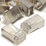100 pcs RJ45 8P8C CAT5E Shielded Modular plug gold plated network connector