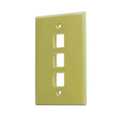 3 Port Hole Keystone Jack Wall Plate Ivory