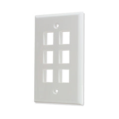 6 Port Hole Keystone Jack Wall Plate White