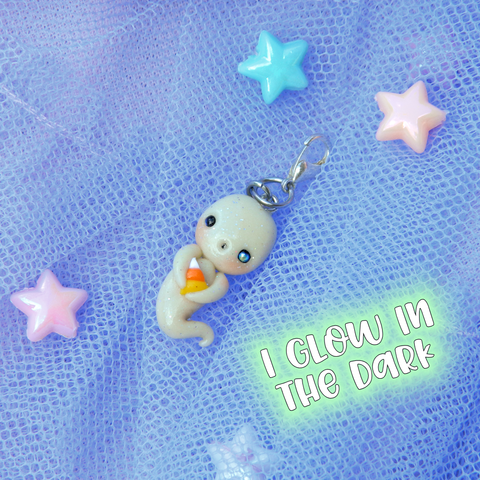 Candy Corn Ghost Doll charm