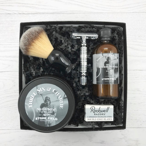 Gift box for him. Perfect for Father's Day or Birthday. All the essentials for a wet shave experience.  Small batch shave soap, aftershave, shave brush, double edge safety razor and blades.