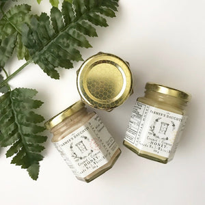 Pure, unpasteurized creamed honey. Cinnamon, Lemon, Strawberry or Regular.  Pretty 150 g jars.