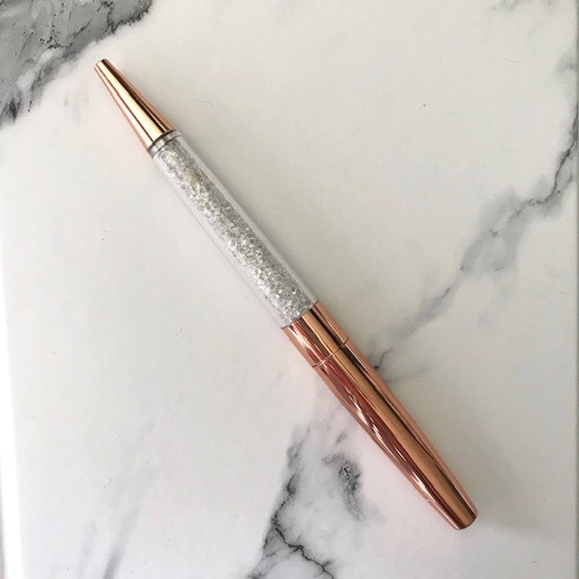 Rose Gold Pen Faux Diamond Crystal