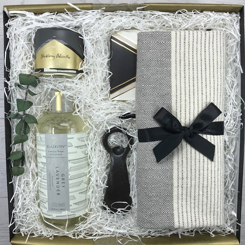 Curated gift box perfect for Them or for Her.  Black and gold accents provide a touch of class for items that are both useful and classy.  Presented in a black reusable gift box and white ribbon with complimentary card.