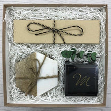 "Load image into Gallery viewer, Gift box for hostess, thank you or client.  Set of 4 mango and white marble coasters, set of 4 clear 5"" glass cocktail straws with cleaning brush complete with a decadent box of chocolate covered almonds.  Presented in a kraft gift box complete with ribbon and message card."
