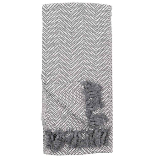 Turkish Throw/Towel - Large Fishbone White Grey
