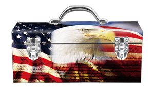 American Flag Eagle Portrat Steel Box