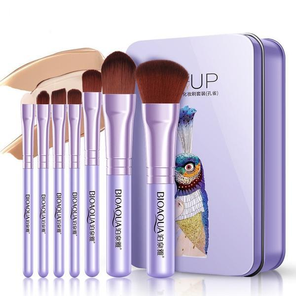 Foundation Brush Makeup Set 7 pcs Pink