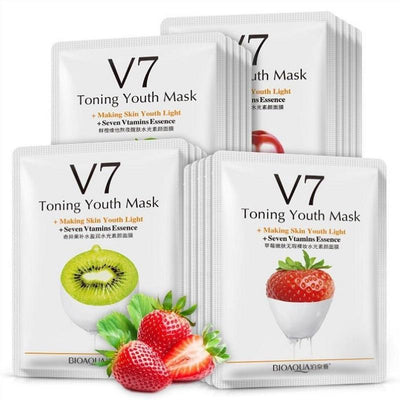 V7 Toning Youth Seven Vitamins Essence Facical Mask - Orange/ Apple/ Kiwi/ Strawberry - BIOAQUA? OFFICIAL STORE