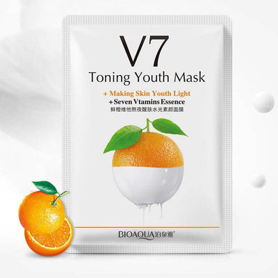 V7 Toning Youth Seven Vitamins Essence Facical Mask - Orange/ Apple/ Kiwi/ Strawberry