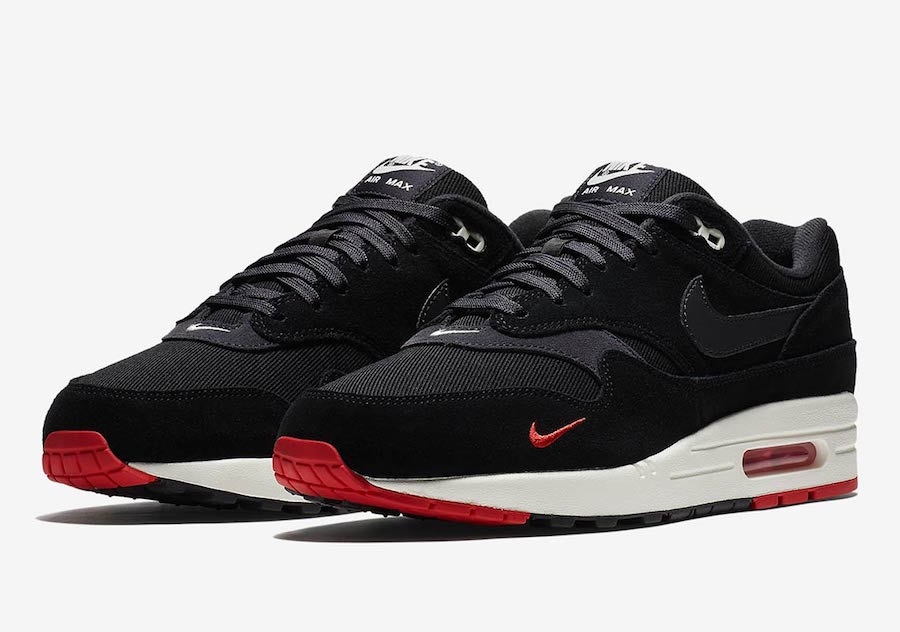 air max 1 premium black university red