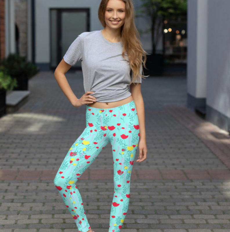 Californian Poppy Leggings - The Hummingbird Effect