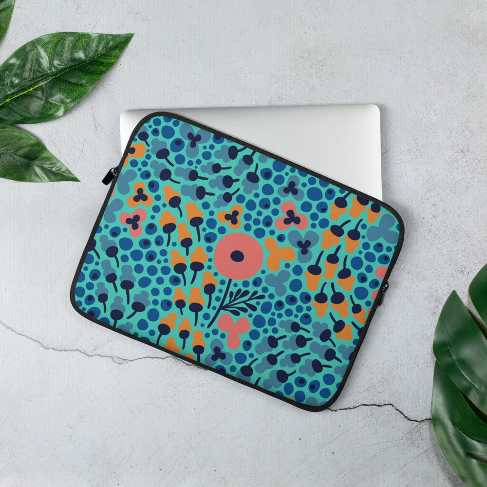 Field of Flowers Laptop Sleeve - The Hummingbird Effect