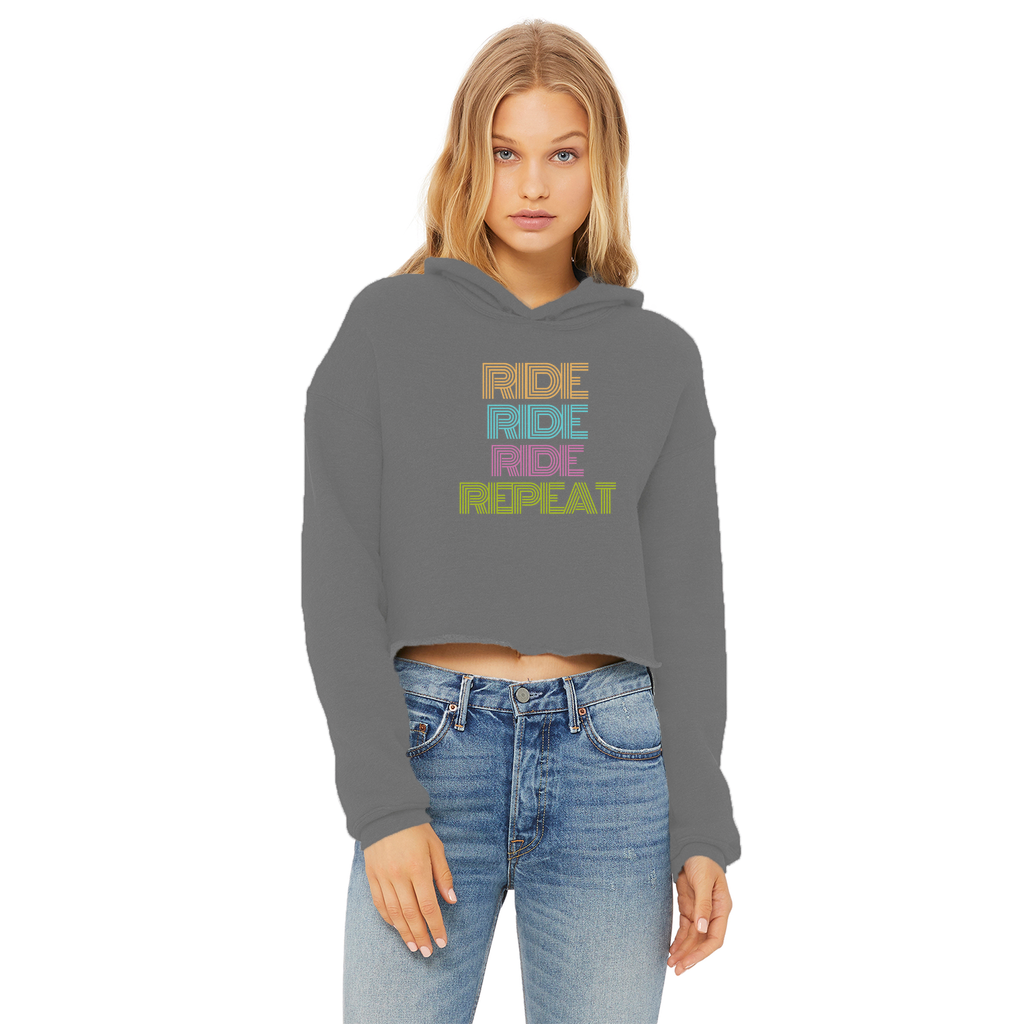 Women's Cropped Hoodie - Ride Repeat Design