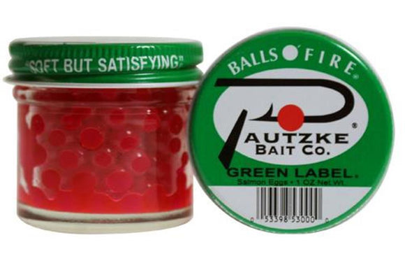 Pautzke Bait Balls O' Of Fire Green Label Salmon Eggs 1 Ounce Oz Jar