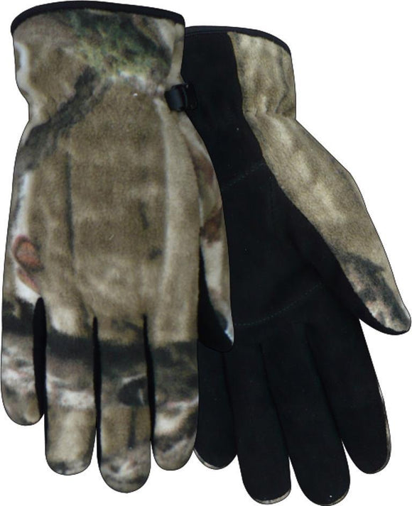 Red Steer Mossy Oak Fleece Gloves Heatsaver Thermal Lined Suede Deerskin Palm