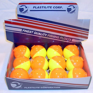 12 Plastilite Fishing Floats Bobbers Fluorescent Yellow Orange Display 1 3/4""