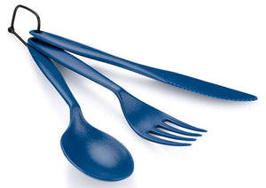 GSI Outdoor TEKK Blue 3 Piece Cutlery Set Fork Knife Spoon