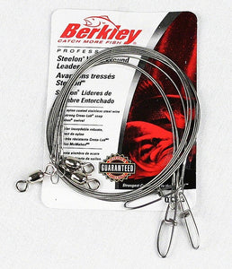 "Package of 3 Berkley Steelon Fishing Leader Bright 12"" Nylon Coated Stainless choice 20# 30# 45#"