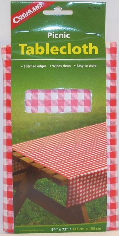 Coghlans Red White Checked Gingham Vinyl Tablecloth 54