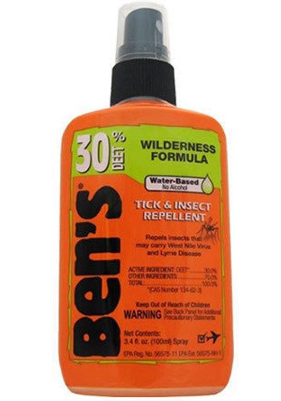 Ben's Wilderness 3.4 Oz Pump Spray 30% Deet Tick Mosquito Insect Repellent