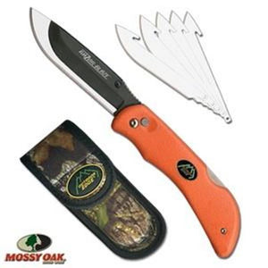 Outdoor Edge Razor-Blaze Orange Hunting Knife With Camo Sheath And 6 Blades