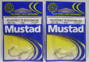 2 Package Size 2/0 25 lb Test Mustad Adjustable Tie Mooching Rig Fishing Hooks