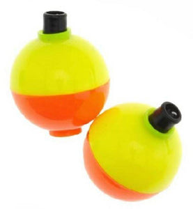 Plastilite Floats Bobbers Fluorescent Yellow Orange Choice: 1, 1-1/4, 1-1/2, 1-3/4 or 2""