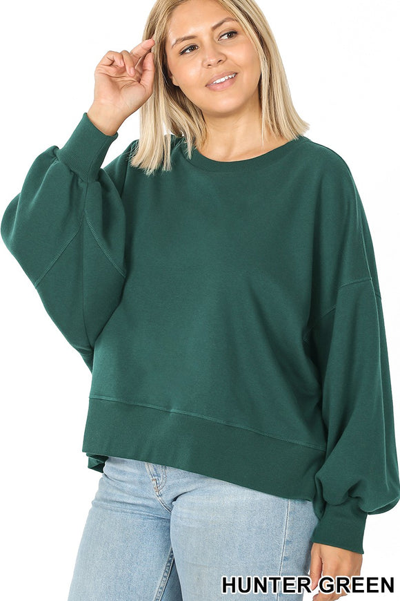 Crop Bubble Sleeve Sweatshirt