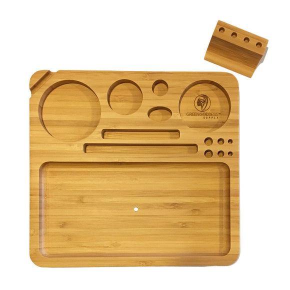 Bamboo Rolling Tray w/ Magnetized Rolling Jig (8.5