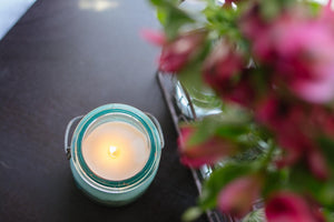 Soy Candle in Vintage Mason Jar With Glass Top - RetroWix