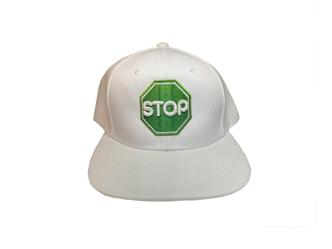 GreenSTOP Snap Back White Hat