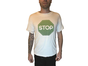 White T Shirt Big GreenSTOP LOGO