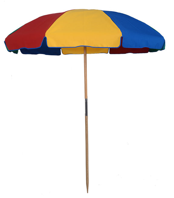 7.5 ft Wood Beach Umbrella Beach Ball Color Commercial Quality Frame and Fabric - MyUmbrellaShop