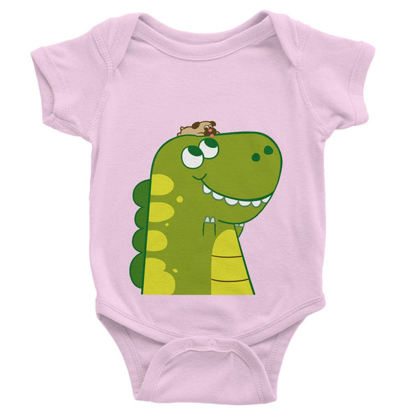 Dinostorus Pug and Baby T-Rex Baby Onesie Light Pink