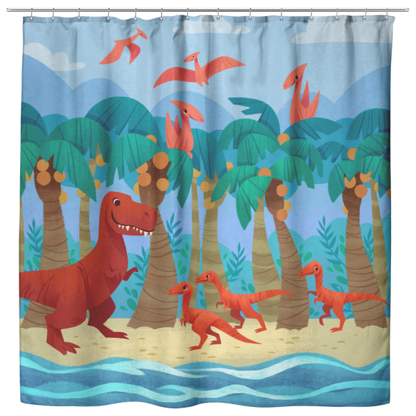 Dino Day at the Beach Shower Curtain