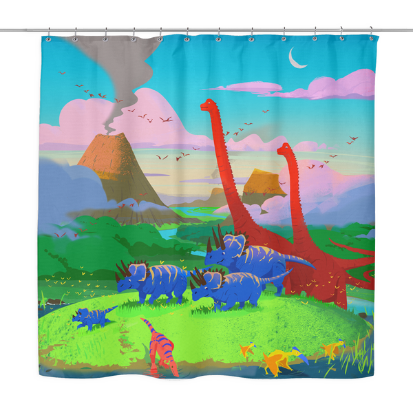 Dinostorus Sunset At The Stream Shower Curtain