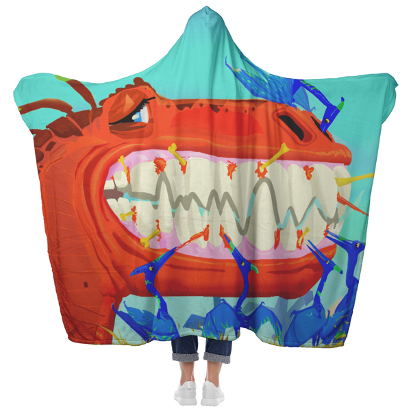 T-Rex Teeth Clean Hooded Blanket
