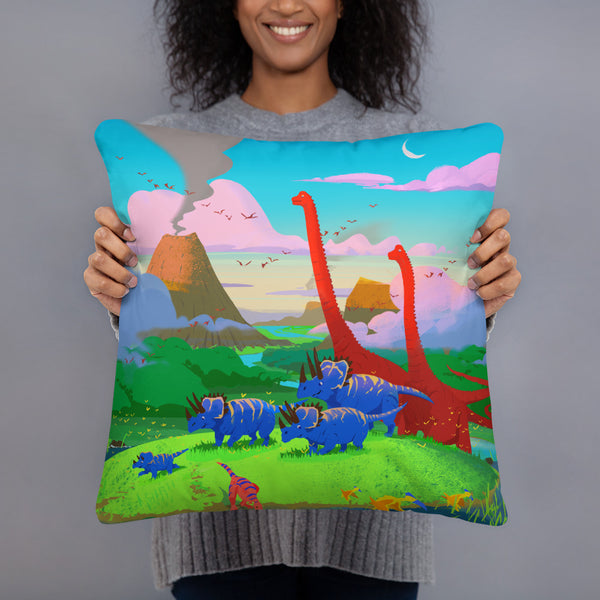 Dinostorus Sunset At The Stream Throw Pillow