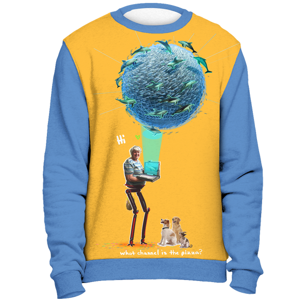 Grandma Dolphin VR 3000 Holiday Sweater - Blue